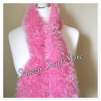 Hand Knitted Bright Pink Fluffy Scarf
