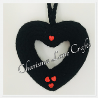 Hand Knitted Black & Red Heart Wreath