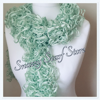 Hand Knitted Green Sparkle Ruffle Scarf