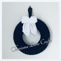 Hand Knitted Black Bow Wreath