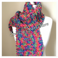 Hand Knitted Vibrant Mix Scarf