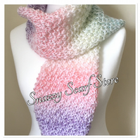 Hand Knitted Pastels Mix Scarf