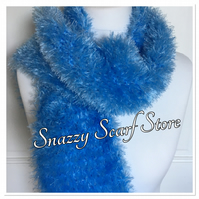 Hand Knitted Blue Fluffy Scarf
