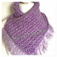 Hand Knitted Purple Fringe Cowl Scarf