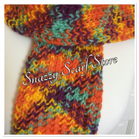 Hand Knitted Vibrant Orange Mix Scarf