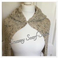 Hand Knitted Beige Hooded Cape