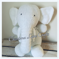 Hand Knitted Cuddly White  Ellie The Elephant