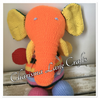 Hand Knitted Cuddly Rainbow Ellie The Elephant