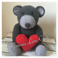 Hand Knitted Grey Heart Hug Bear