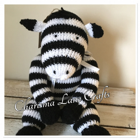 Hand Knitted Cuddly Zara The Zebra