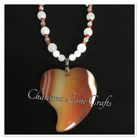 Handmade Agate Heart Pendant Necklace