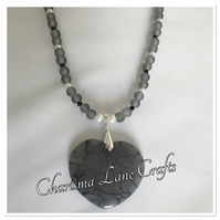 Handmade Grey Agate Heart Pendant Necklace