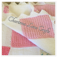 Hand Knitted Pink Patchwork Baby Blanket