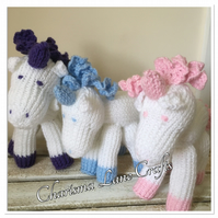 Hand Knitted Glitter Unicorn Cuddly Toy