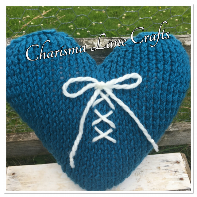 Hand Knitted Chunky Blue Lace Up Heart Cushion