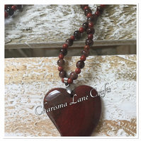 Handmade Brown Agate Heart Pendant Necklace