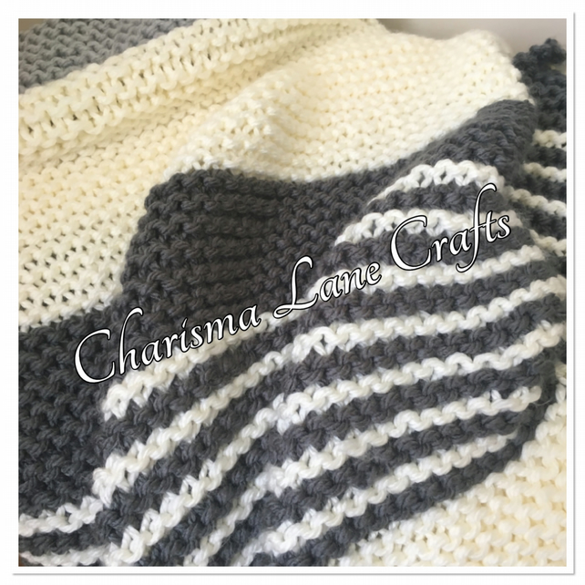 Hand Knitted Chunky Grey & Cream Blanket