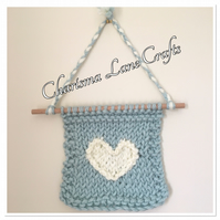 Hand Knitted Heart Wall Hanger