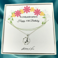 10th Birthday Gift Necklace, Personalized Sterling Silver Monogram Necklace