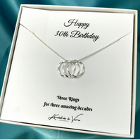 20th-100th Birthday Necklace Sterling Silver Circles Necklace Gift For Her