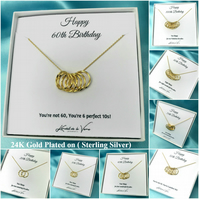 20th-100th Birthday Necklace 24K Gold Plated Sterling Silver Circles Necklace