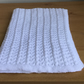 Hand knitted lacy baby blanket - white