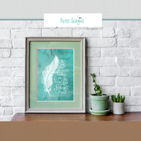 Scripture print home decoration. He will cover you with his feathers...