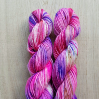 'Lilly the Pink' Hand dyed BFL and Nylon Mini skein