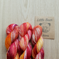 'Burning Embers' Hand dyed Bluefaced Leicester & Nylon Mini Skein