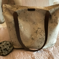 Tote bag,  shoulder bag, vintage faded, floral linen, womans bag, gift for mum,