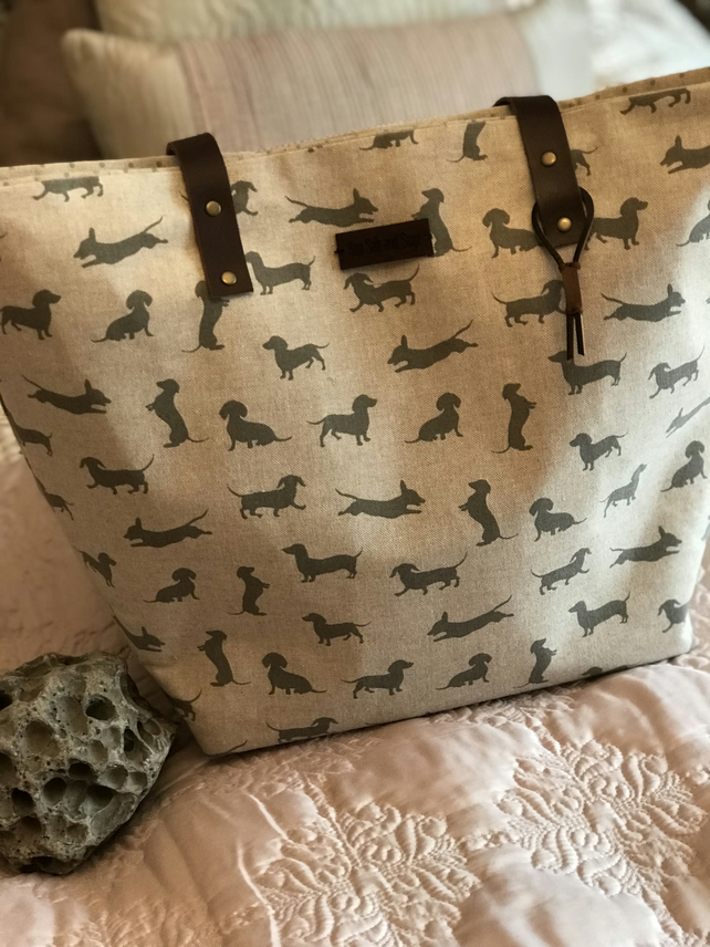 Tote bag, shoulder bag, dachshund print bag, leather straps, gift for mum, woman
