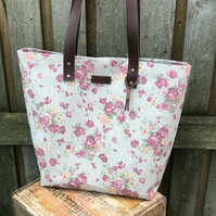 Tote bag, shoulder bag, floral linen bag, leather straps, gift for mum, womans