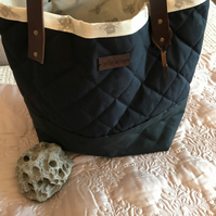 Navy soft tote bag,  shoulder bag, womans bag, waxed quilted bag, leather straps