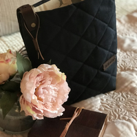 Crossbody bag, waxed quilted cotton bag, shoulder bag,