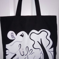 Black cotton shopper bag