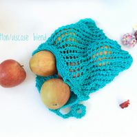 Cotton Blend Fruit and Veg Knitted Bag, Shiny Jade, Small