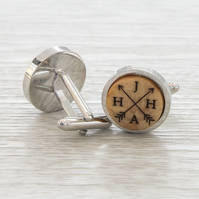 Initials Cuff Links - Customised Personalised cufflinks