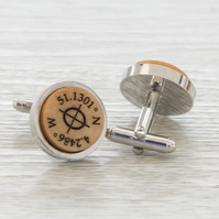 Co-ordinates Cuff Link - Personalised Customised Special place cuff links