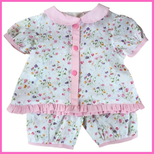 Girls pyjamas - Peter Pan collar, white floral design 2 piece set