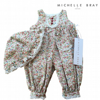 Liberty Print babygrow with matching hat - 12 Months