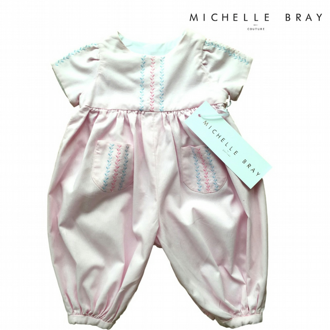 Pink Special Occasion babygrow with embroidery - 12 months