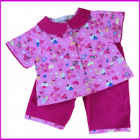 2 Piece Teddy Bear Pyjamas with Peter Pan collar
