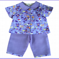 2 Piece Teddy Bear Pyjamas with Peter Pan collar Lilac Purple all over print