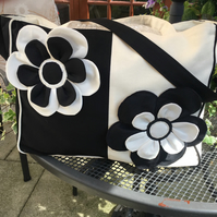 Black and Cream Mirror Image Tote, Beach, Shopper, Shoulder bag