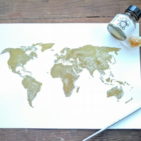 Original gold ink world map painting