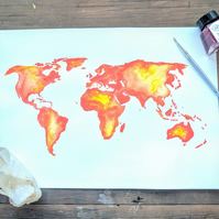 Original watercolour world map painting