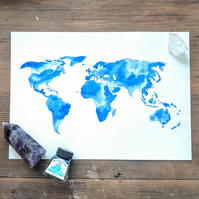 Original watercolour world map