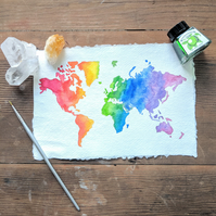 Original rainbow watercolour map of the world