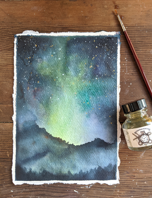 Night sky original watercolour A5