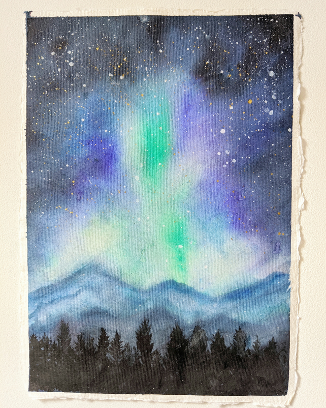Night sky original watercolour A4